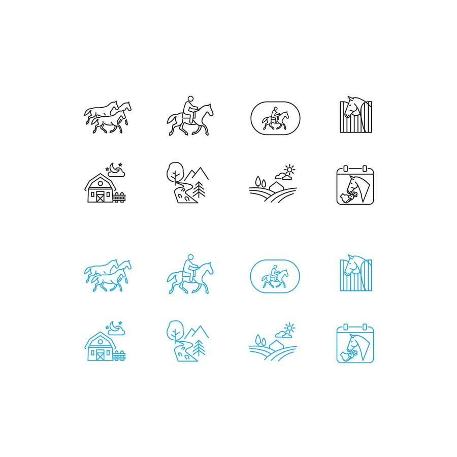 Entry #9 by freelancerthebes for 8 thin line icons, horse-related