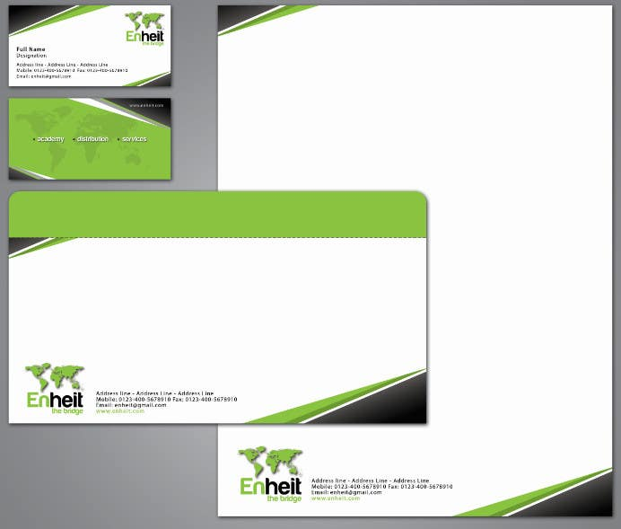 Penyertaan Peraduan #                                        35                                      untuk                                         Letterhead, business card and envelop package design for Enheit