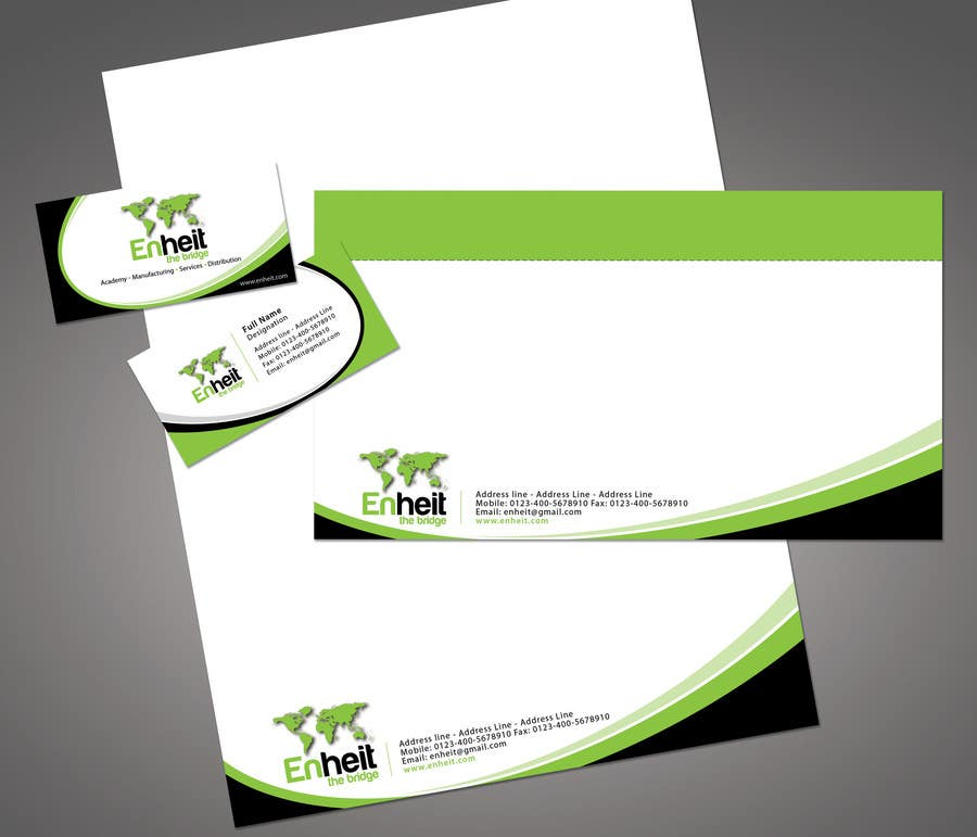 Bài tham dự cuộc thi #                                        41                                      cho                                         Letterhead, business card and envelop package design for Enheit