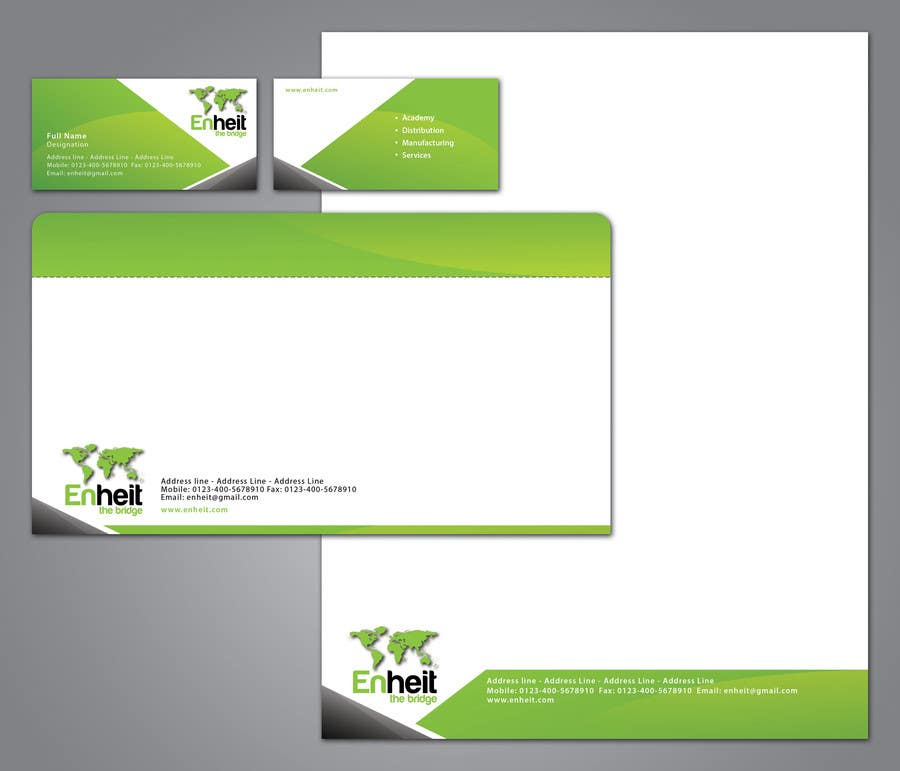 Proposition n°                                        37                                      du concours                                         Letterhead, business card and envelop package design for Enheit