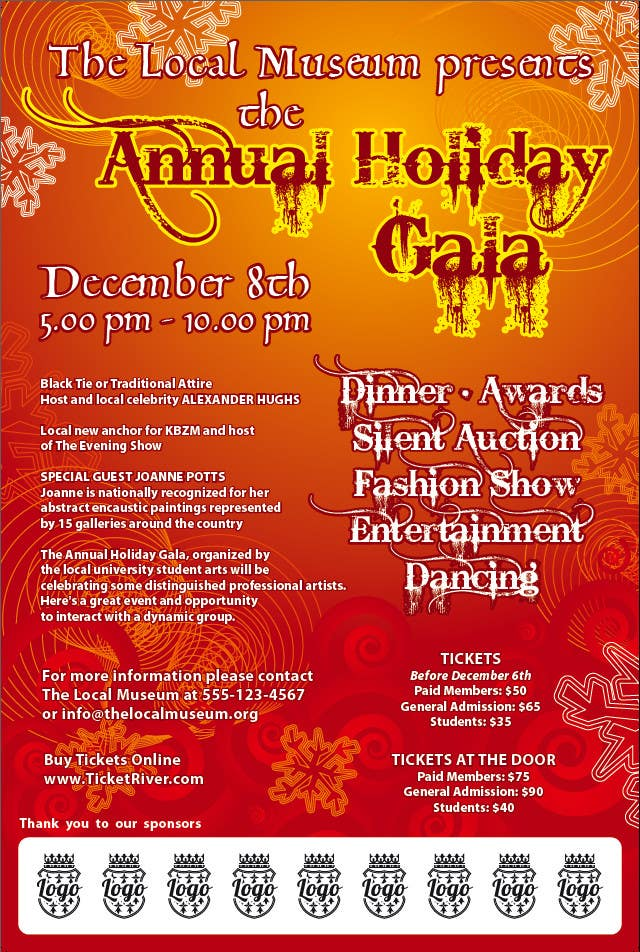 Contest Entry #                                        6                                      for                                         Print & Packaging Design for Full color, eye catching poster & event ticket for a HOLIDAY GALA