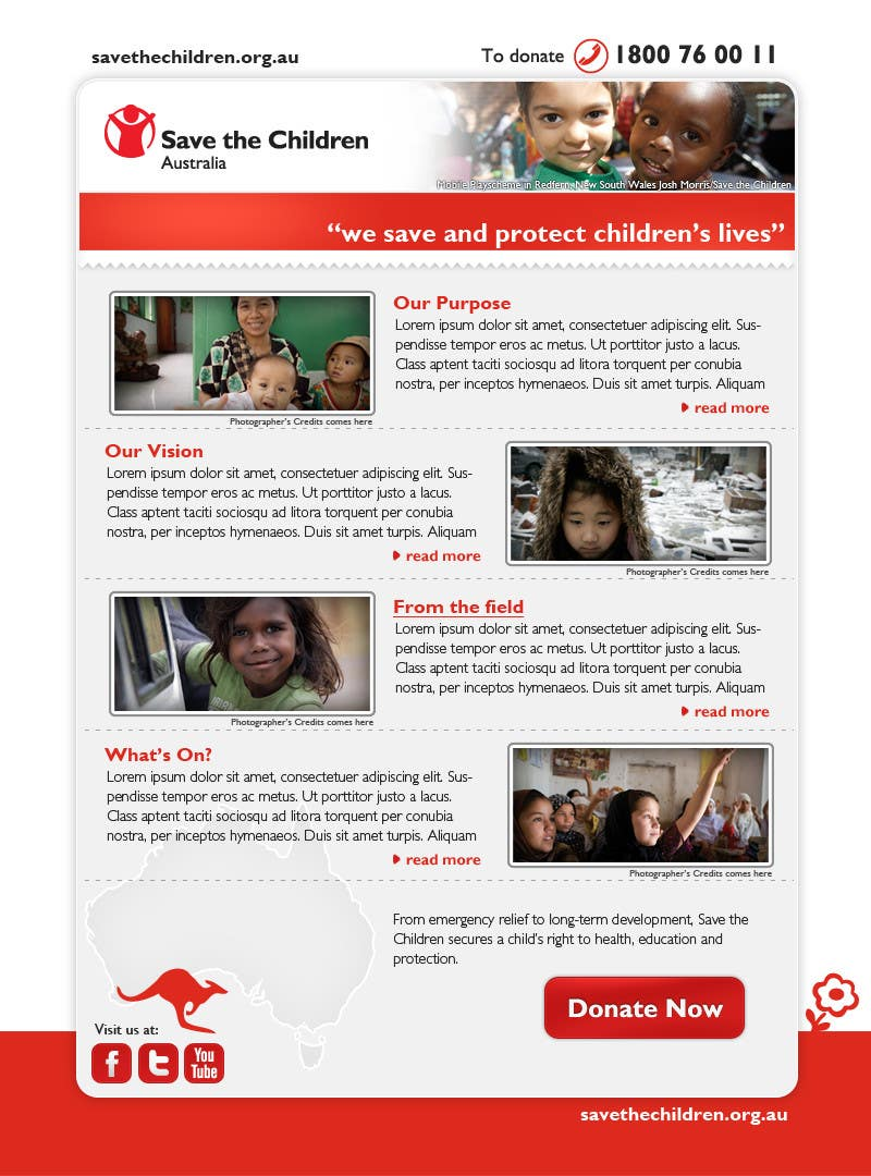 Konkurrenceindlæg #34 for HTML Email for Save the Children Australia