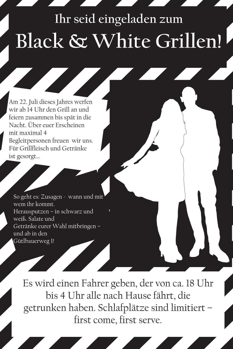 Kilpailutyö #24 kilpailussa Design an Invitation for a cool Black and White Party, printable