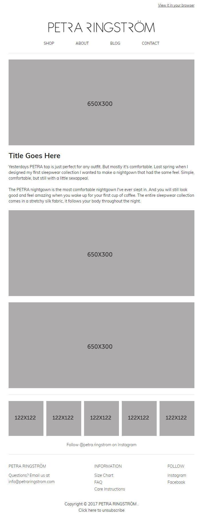 Proposition n°5 du concours Design a email template for a online shop