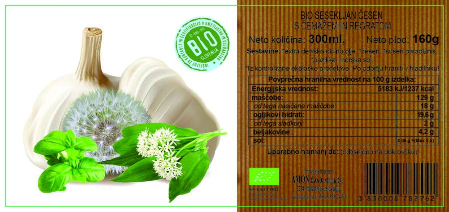 Proposition n°5 du concours Design 2 new labesl (modification) from a current one (wild garlic and dandelion)