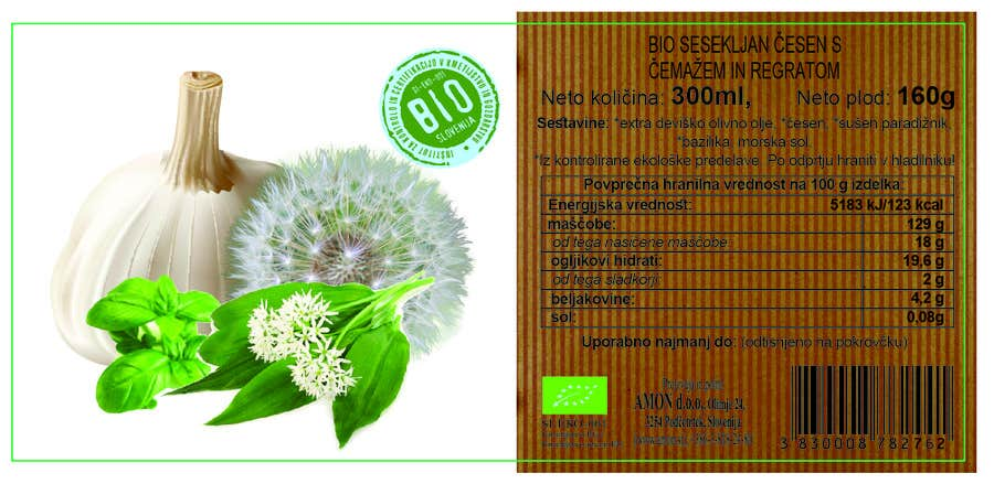 Proposition n°2 du concours Design 2 new labesl (modification) from a current one (wild garlic and dandelion)