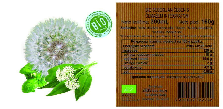 Proposition n°3 du concours Design 2 new labesl (modification) from a current one (wild garlic and dandelion)