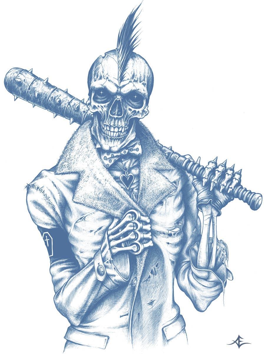 Kilpailutyö #                                        47                                      kilpailussa                                         Illustrate a Skull - Angry and Badass
