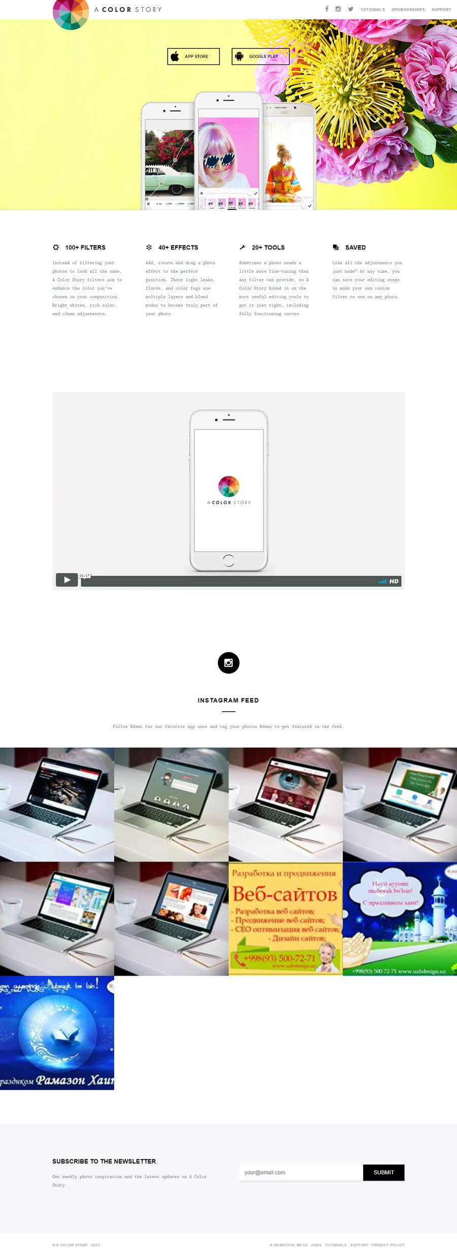 Proposition n°9 du concours 1 page - landing page in html / CSS for a mobile app w/ Instagram feed
