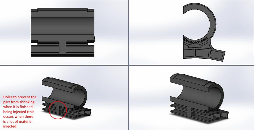 Proposition n°4 du concours Retrofit product design for easy injection molding manufacturing
