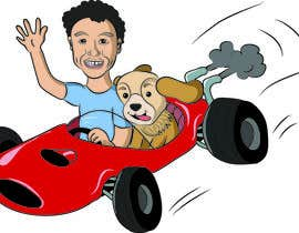 nº 9 pour Create custom cartoon of little boy and dog driving in a race car while they are both smiling par abhikabn
