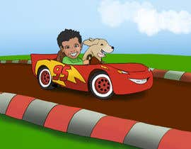 nº 4 pour Create custom cartoon of little boy and dog driving in a race car while they are both smiling par vsanders6