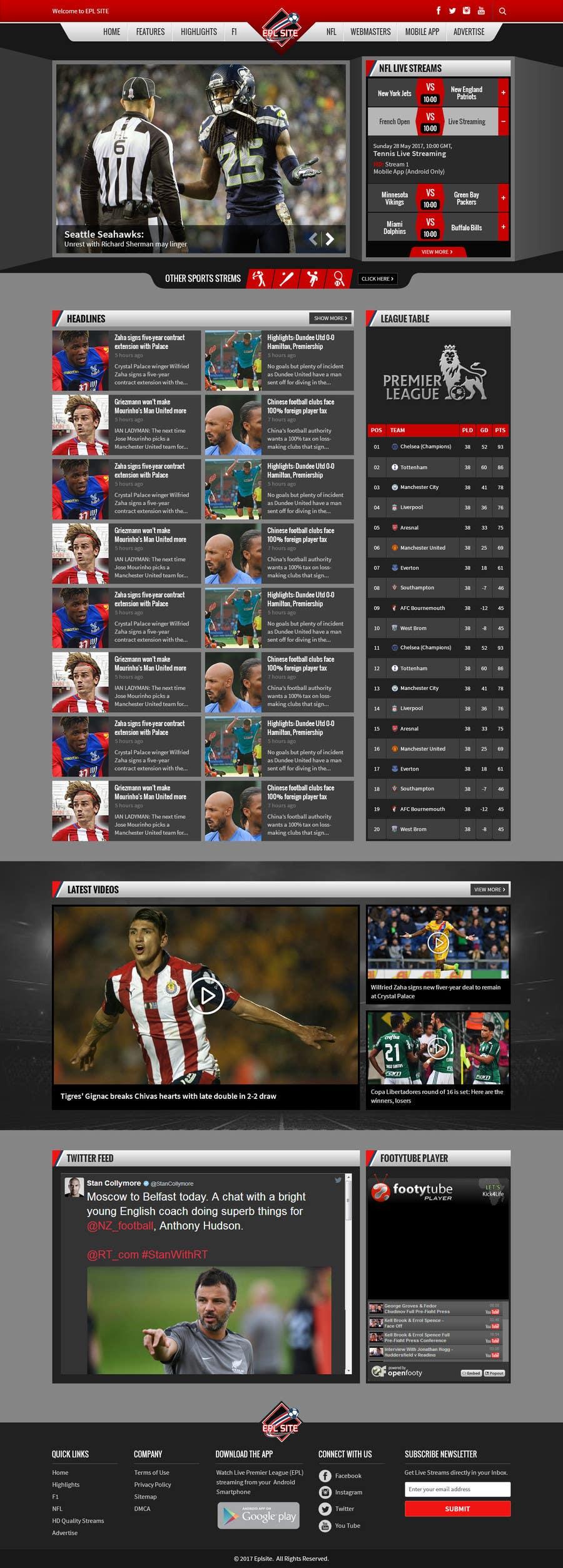 Proposition n°50 du concours Design a Mockup for Football website
