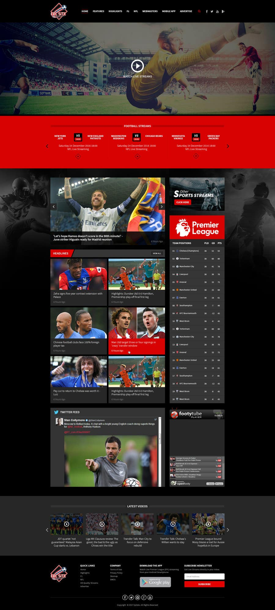 Proposition n°51 du concours Design a Mockup for Football website