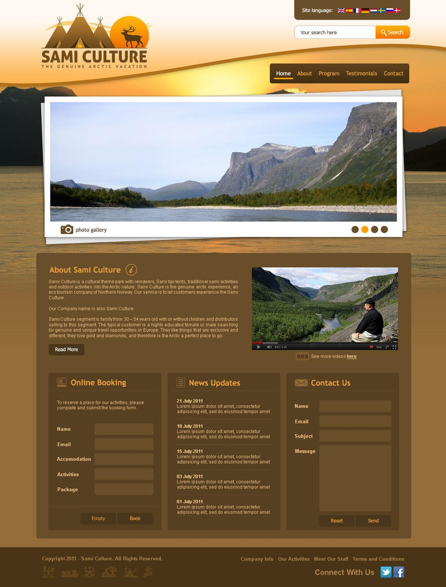 Contest Entry #                                        52                                      for                                         Website Design for Sami Culture (Joomla!)