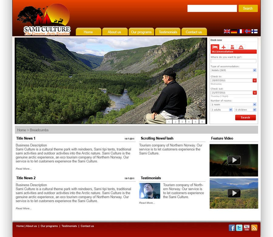 Contest Entry #                                        45                                      for                                         Website Design for Sami Culture (Joomla!)