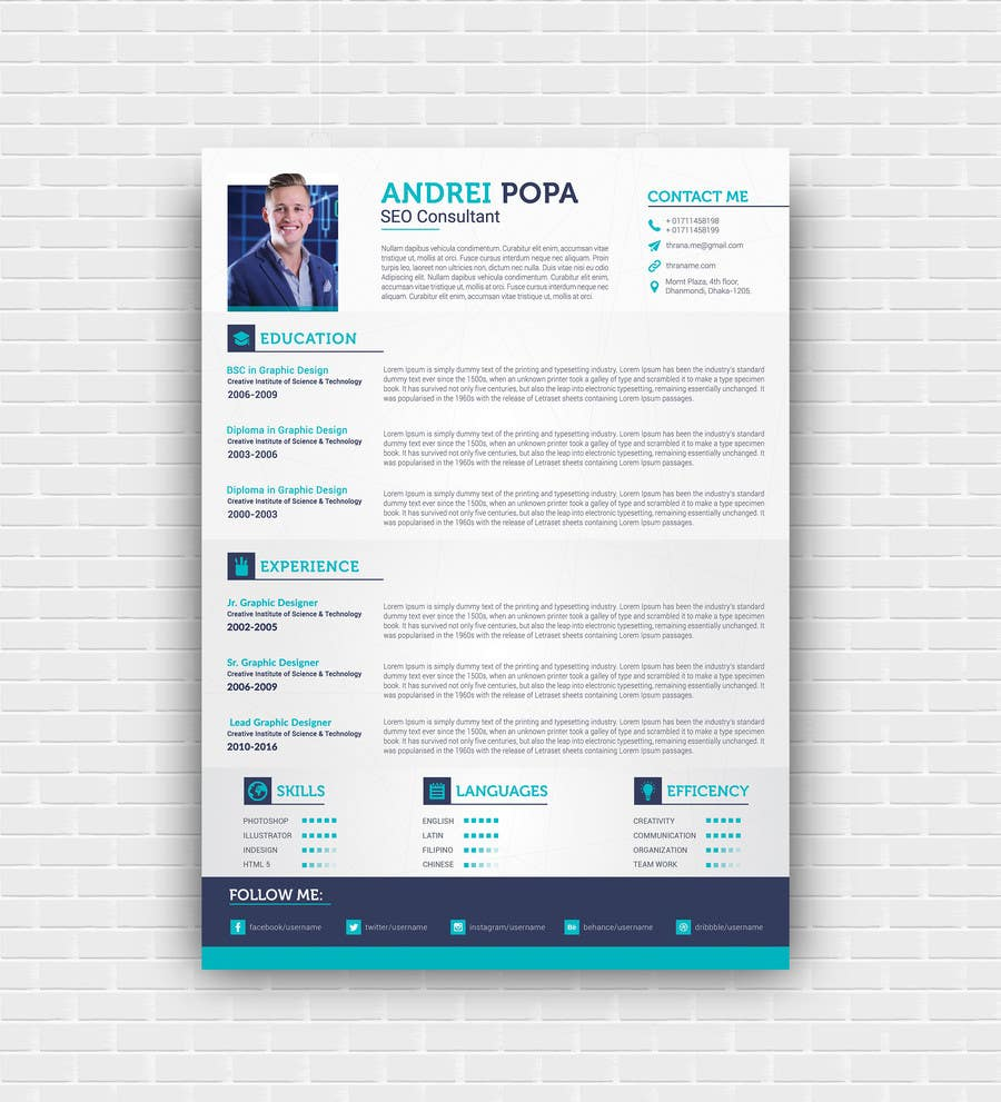Proposition n°9 du concours Well designed Resume with a clean. minimalistic and zen feel