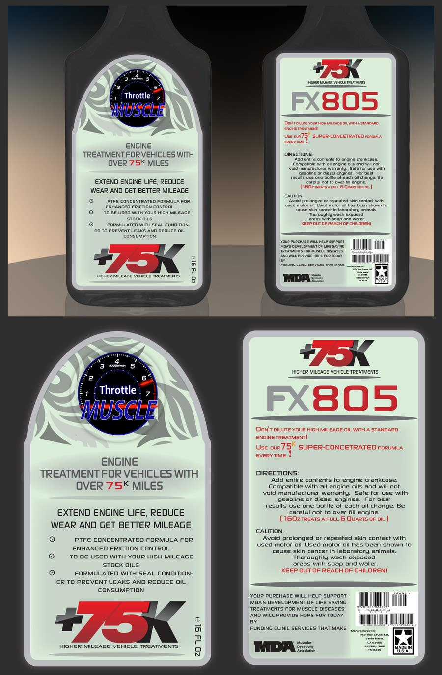 Contest Entry #6 for Print & Packaging Design for Throttle Muscle FX805