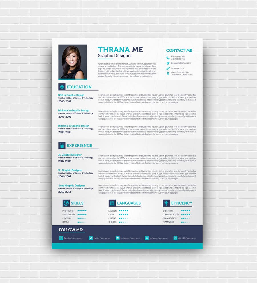 Proposition n°32 du concours I need someone to deign an easily editable resume