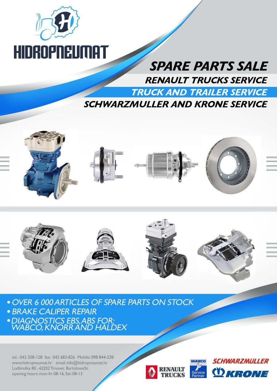 Design a simple flyer for truck spare parts shop freelancer for Simple car parts