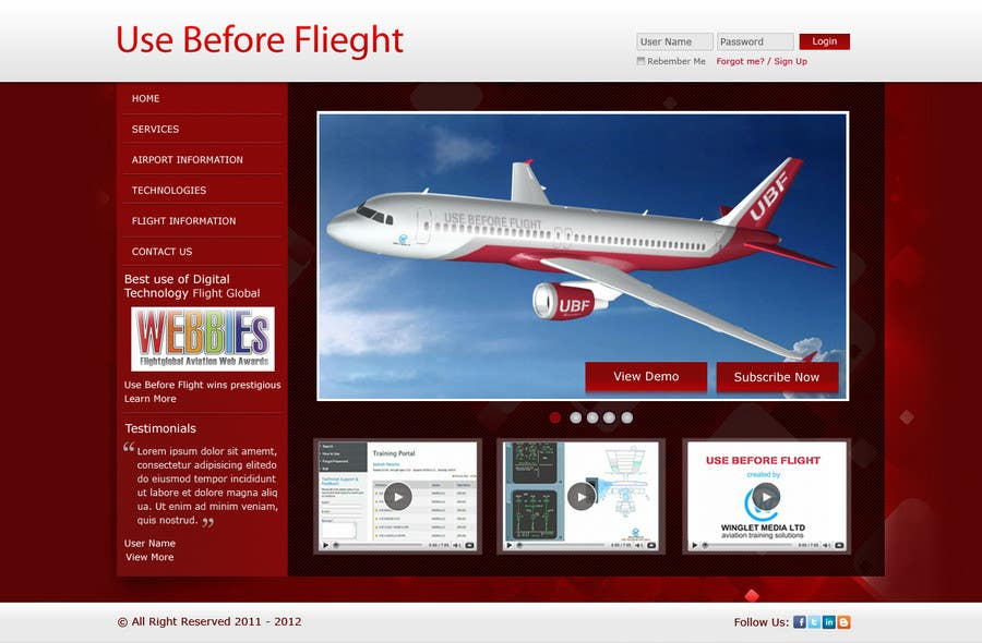 Penyertaan Peraduan #                                        3                                      untuk                                         Website Design for Use Before Flight