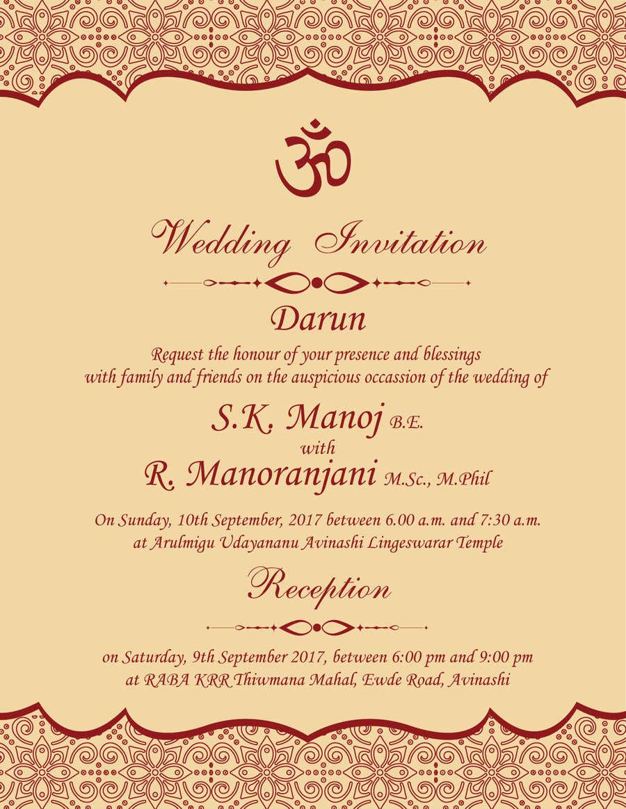 Contest Entry 9 For Design A South Indian Marriage Invitation Hindu Religion