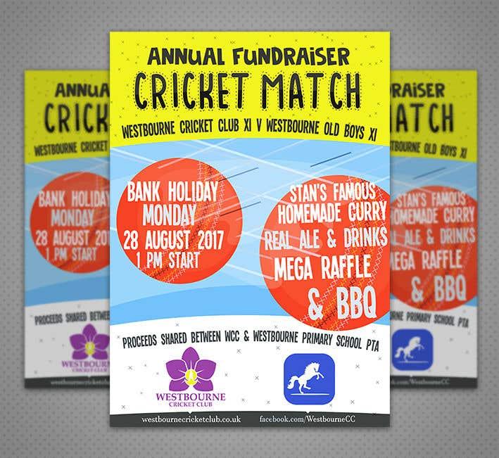 """Intrarea #31 pentru concursul """"Fundraiser Poster Design for Print - Cricket!"""""""