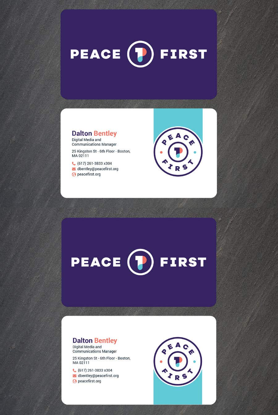 Entry #322 by BikashBapon for Design Business Cards for Peace First ...