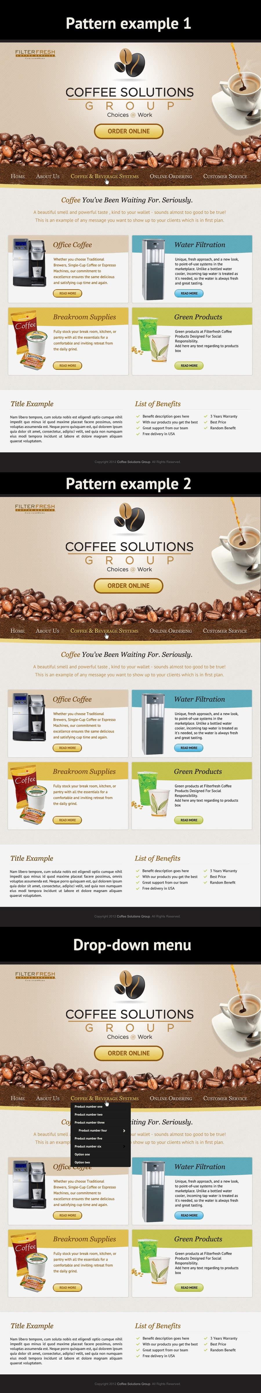 Proposition n°                                        62                                      du concours                                         Website Design for Coffee Solutions Group