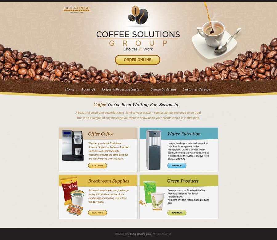 Proposition n°                                        36                                      du concours                                         Website Design for Coffee Solutions Group