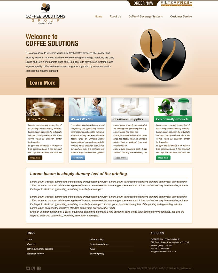 Proposition n°                                        5                                      du concours                                         Website Design for Coffee Solutions Group