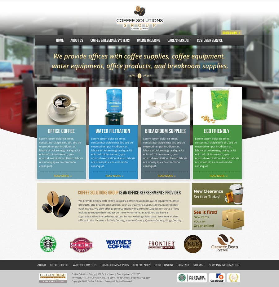 Proposition n°                                        57                                      du concours                                         Website Design for Coffee Solutions Group