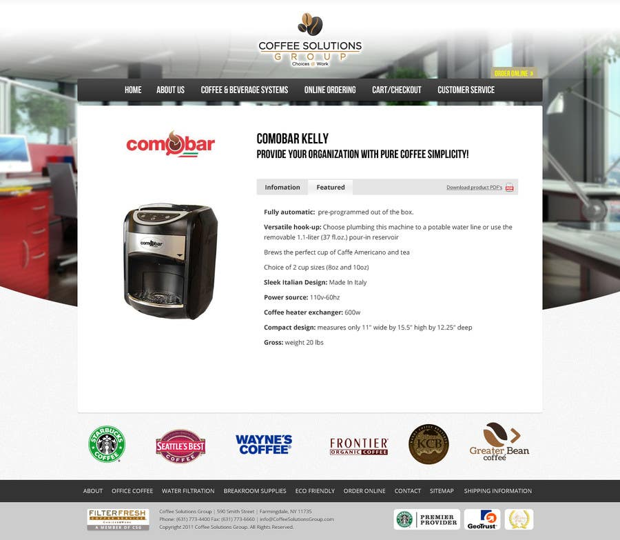 Proposition n°                                        59                                      du concours                                         Website Design for Coffee Solutions Group