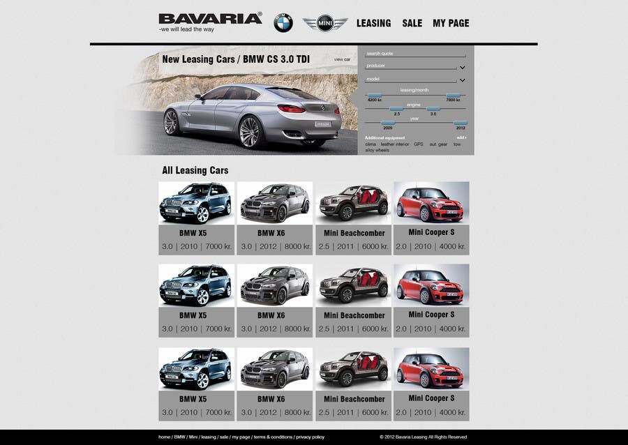 Bài tham dự cuộc thi #4 cho Website Design for Bavaria KBH (Car Leasing + Finansing website)