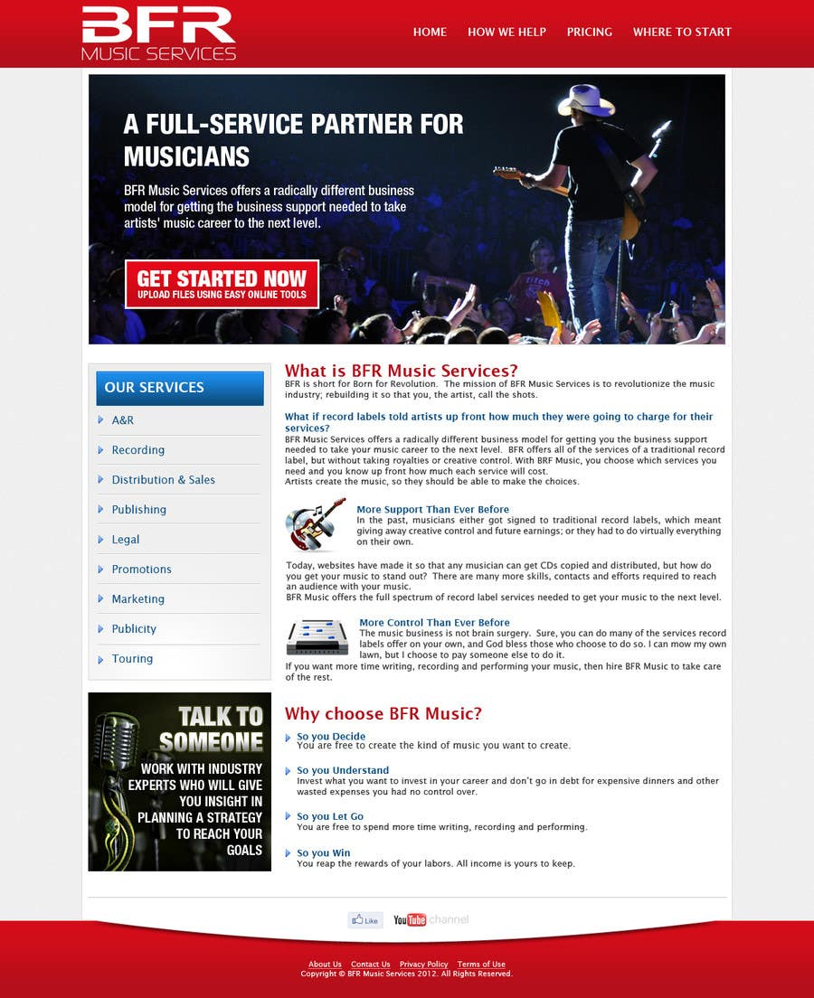Inscrição nº                                         5                                      do Concurso para                                         Website Design for BFR Music Services