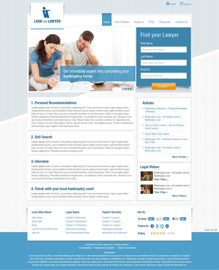 Kilpailutyö #114 kilpailussa Website Design for LookforLawyer.com