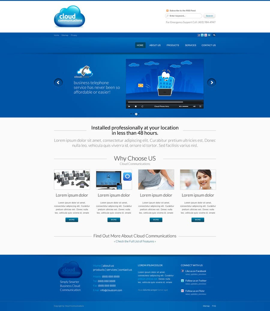 Конкурсная заявка №56 для Wordpress Theme Design for Cloud-Phone Inc.