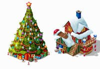 Isometric Christmas Themed images for Android game contest winner