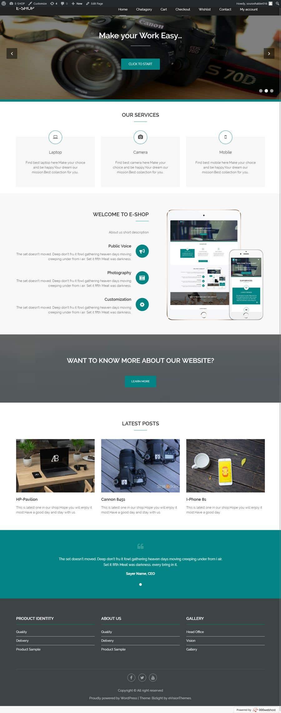 Contest Entry #10 for Design a Website Mockup for Wordpress