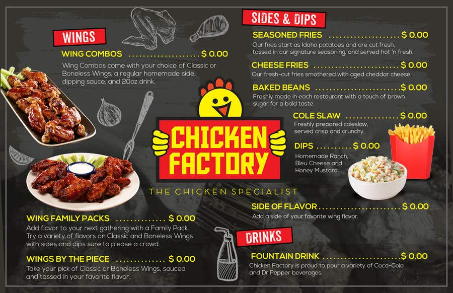 Contest Entry #                                        20                                      for                                         Design a new menu for my chicken shop.