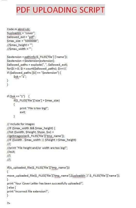 Write a code for PDF uploading script | Freelancer