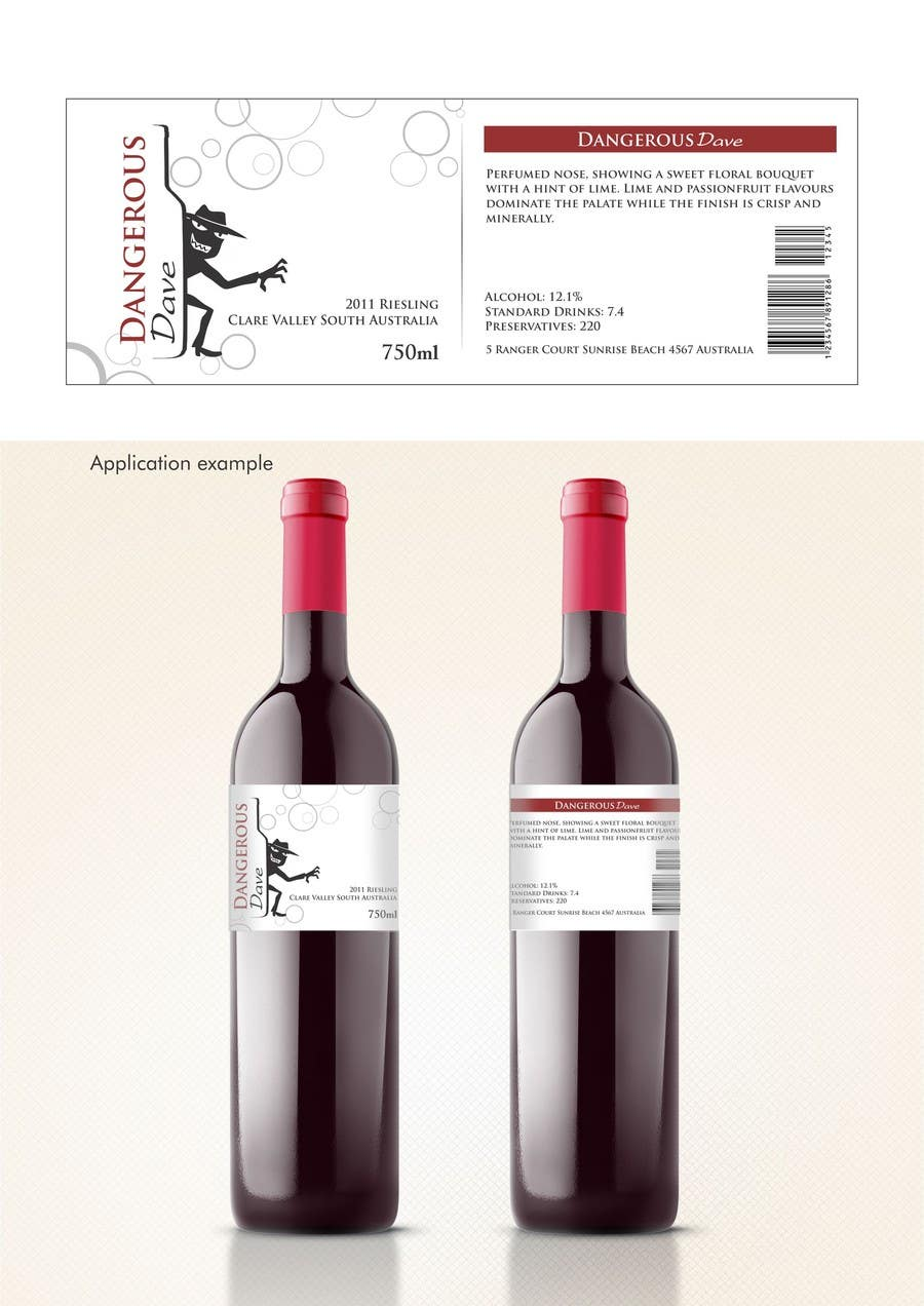 Proposition n°                                        2                                      du concours                                         Wine Label for Dangerous Dave