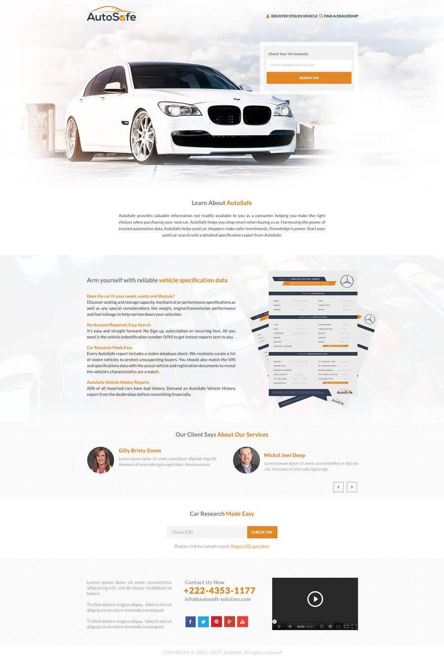 Entry #55 by RoboExperts for Design a Website Mockup for a Car