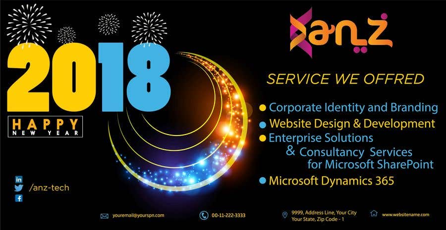 design new year banner illutrating services