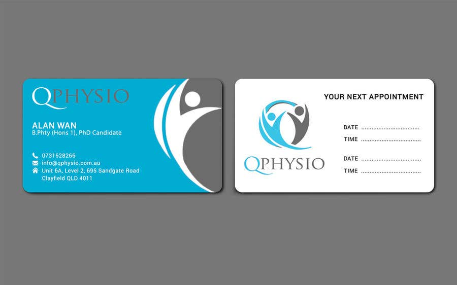 Clean Minimal Physiotherapy Business Cards