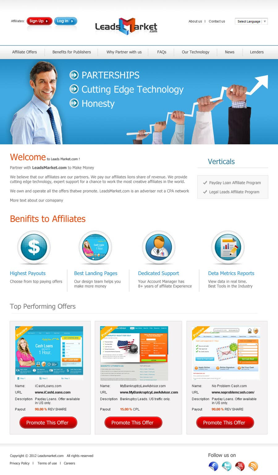 #72 for Website Design for LeadsMarket.com by cromasolutions