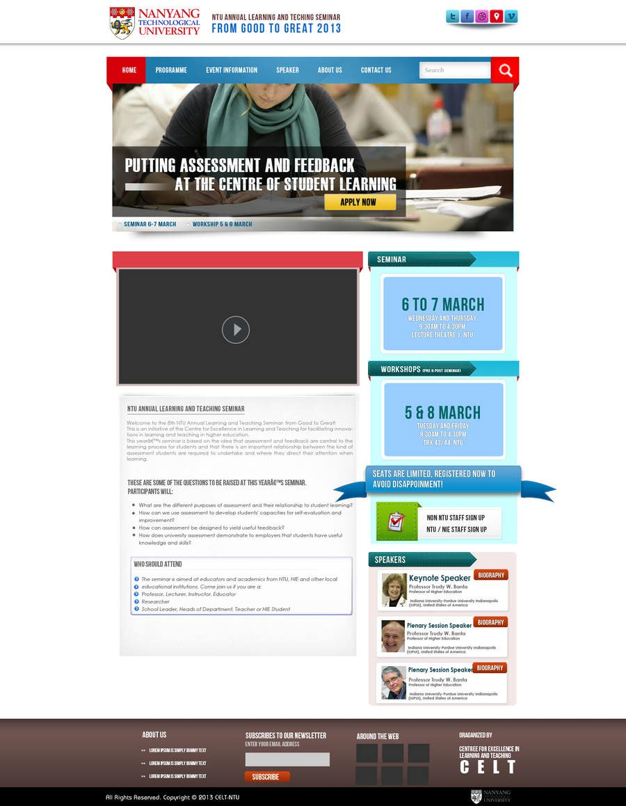 """#68 for Website Design for Seminar: """"Putting Assessment and Feedback at the Center of Student Learning"""" by kreativegraphic"""