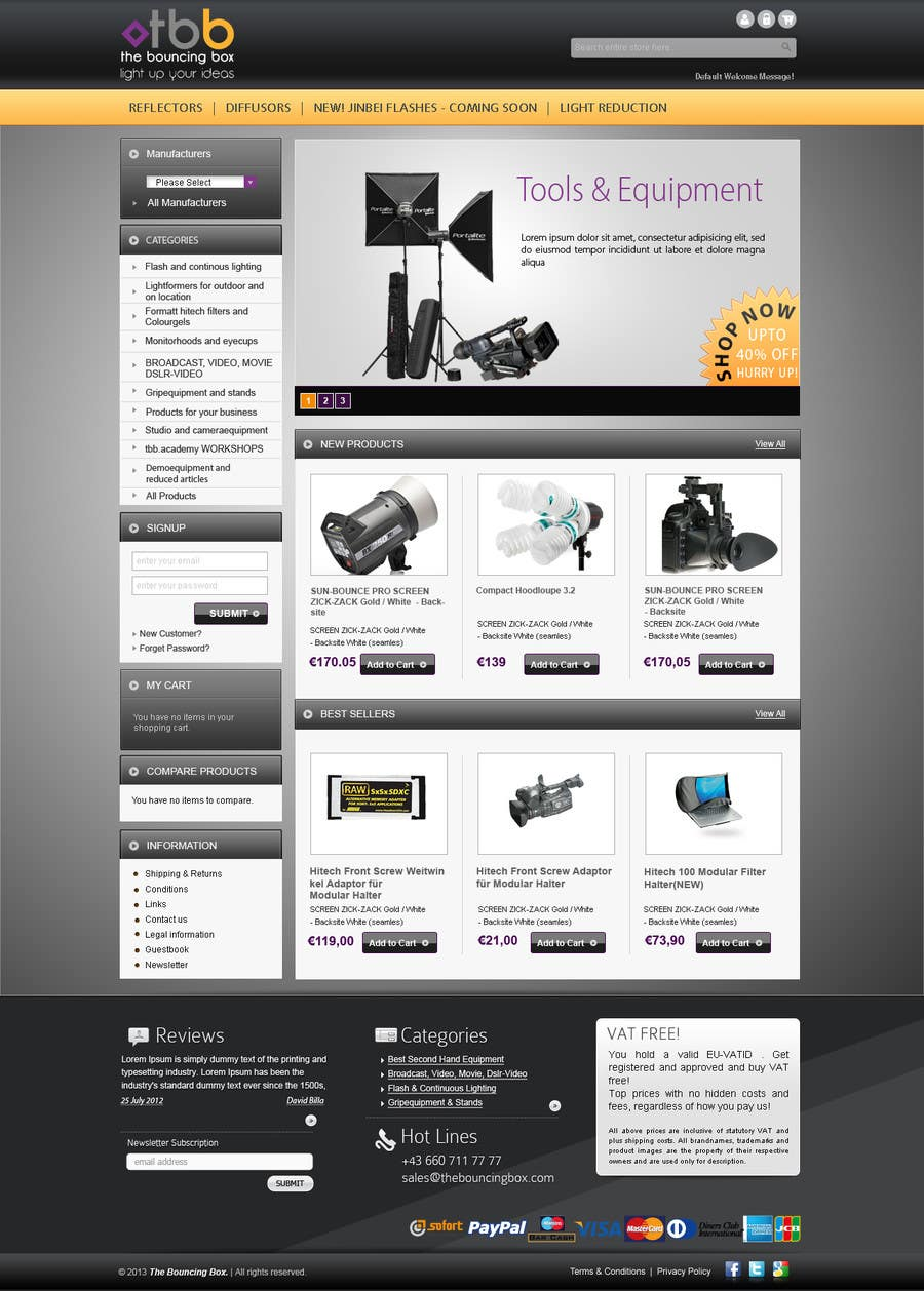#5 for New Graphic Design for photo equipment web shop  www.thebouncingbox.com by datagrabbers