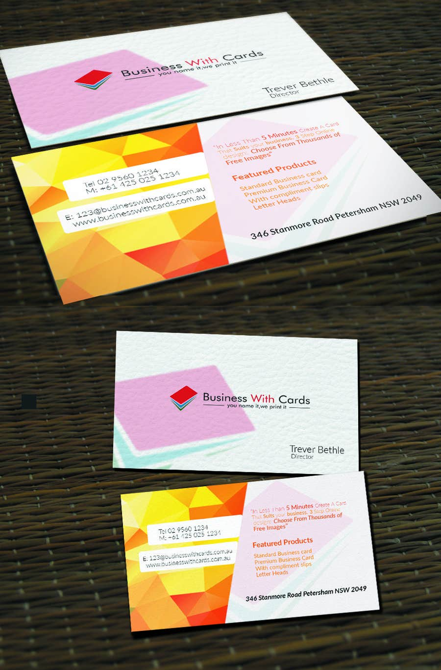 Contest Entry 27 For Design Some Business Cards Print Company