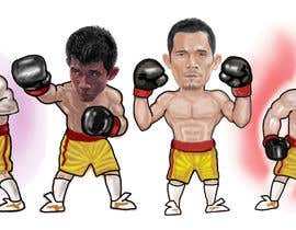 "#58 for Design an Asian Boxer Cartoon Character with 4 different punching actions/posts all in full body. (*Suggest to best use ""Srisaket Sor Rungvisai"" as the referral for the character) by opoiki13"